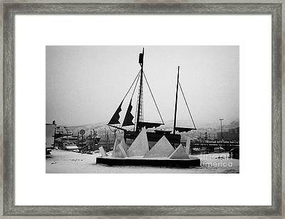 Sculpture Of A Sailing Ship In Ice Pack In Hammerfest Harbour In Winter Finnmark Norway Europe Framed Print