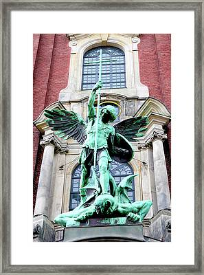 Sculpture Of The Archangel Michael Framed Print