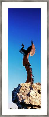 Sculpture Of The Keeper Of The Plains Framed Print by Panoramic Images