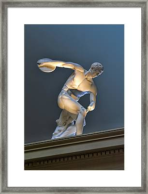 Sculpture Olymic Athlete In Color Framed Print by Linda Phelps