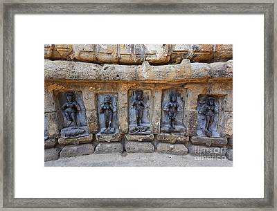 Sculptures At The Yogini Temple At Bhubaneswar In India Framed Print by Robert Preston