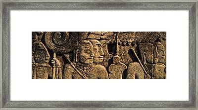 Sculptures In A Temple, Bayon Temple Framed Print