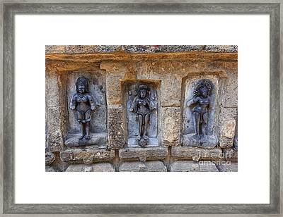 scultures at the Yogini temple at Bhubaneswar in India Framed Print by Robert Preston
