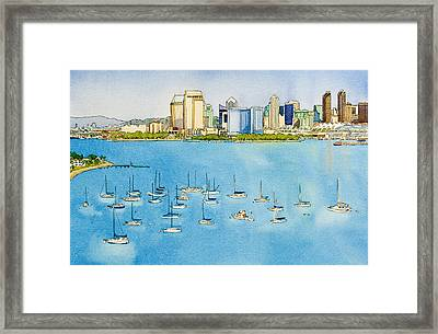 Sd Skyline Pen And Ink Framed Print by Mary Helmreich