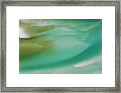 Sea And Fresh Water Covering Beach Framed Print by Peter Adams