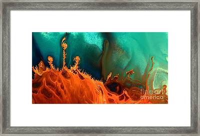 Sea Anemone - Contemporary Abstract Fluid Art By Kredart Framed Print