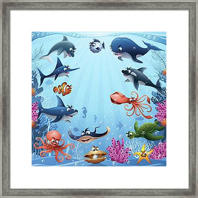 Sea Animals Framed Print by Alonzodesign