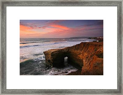 Sea Arch Winter Sunset Framed Print