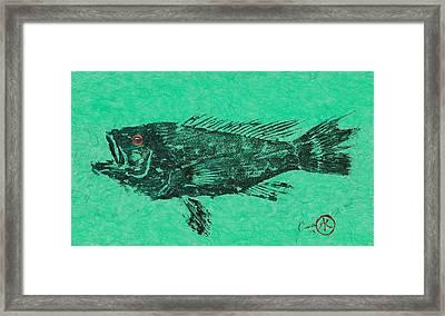 Sea Bass On Aegean Green Thai Unryu Paper Framed Print