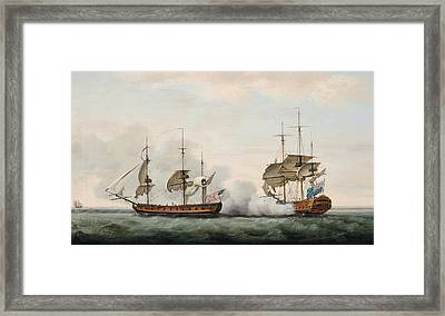 Sea Battle Framed Print by Francis Holman