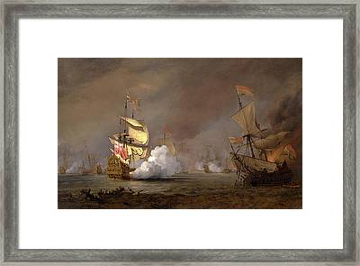 Sea Battle Of The Anglo-dutch Wars The Battle Of Lowestoft Framed Print by Litz Collection
