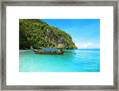 Sea Beautiful And Mountains Framed Print by Boon Mee