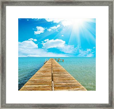 Sea Beautiful And Sky Framed Print by Boon Mee