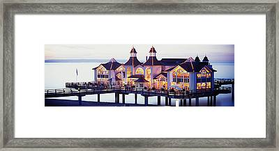 Sea Bridge Lit Up At Dusk, Sellin, Isle Framed Print by Panoramic Images