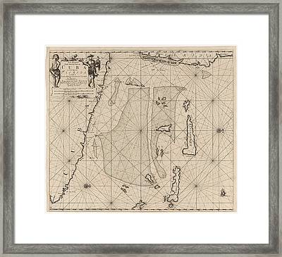 Sea Chart Of Part Of Southeastern Florida And Northeast Framed Print