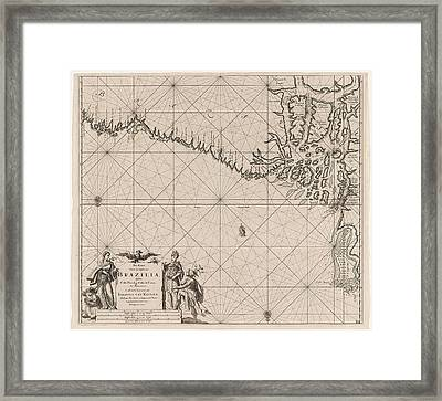 Sea Chart Of Part Of The Coast Of Brazil With The Delta Framed Print