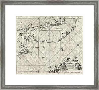 Sea Chart Of Part Of The Coast Of Norway Framed Print by Jan Luyken And Johannes Van Keulen I