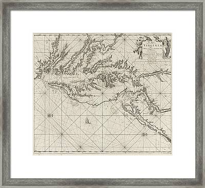 Sea Chart Of Part Of The Coast Of Virginia Framed Print