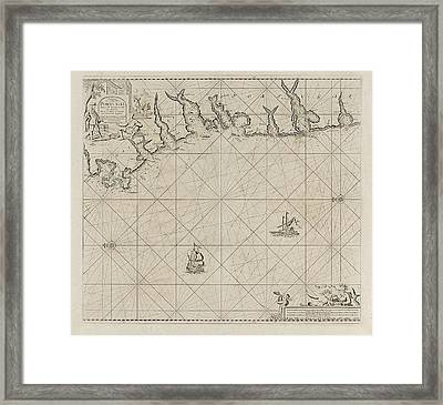 Sea Chart Of Part Of The South Coast Of Portugal Framed Print by Jan Luyken And Anonymous And Johannes Van Keulen (i)