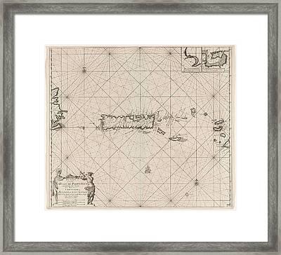 Sea Chart Of Puerto Rico, Jan Luyken, Claes Jansz Voogt Framed Print by Jan Luyken And Claes Jansz Voogt And Johannes Van Keulen (i)