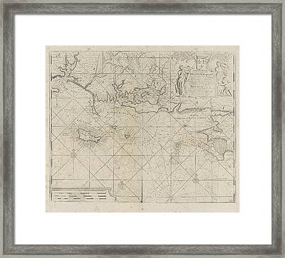 Sea Chart Of The Coast Of France Between The Island Framed Print