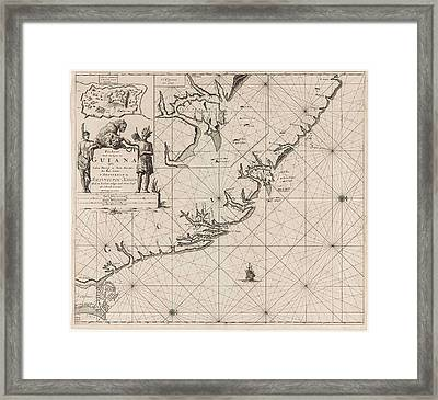 Sea Chart Of The Coast Of French Guiana, Jan Luyken Framed Print by Jan Luyken And Claes Jansz Voogt And Johannes Van Keulen (i)