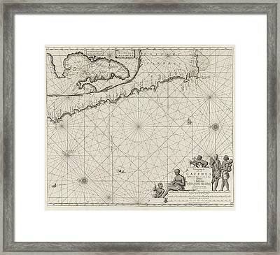 Sea Chart Of The Coast Of Namibia And South Africa Framed Print