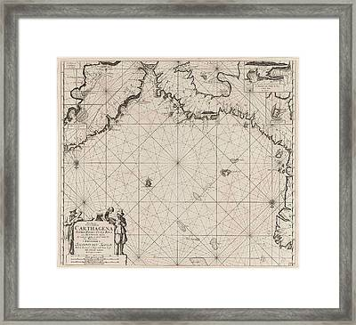 Sea Chart Of The Coasts Of Colombia, Panama, Costa Rica Framed Print by Jan Luyken And Claes Jansz Voogt And Johannes Van Keulen (i)