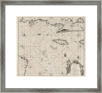Sea Chart Of The South Coast Of Cuba And Jamaica Framed Print by Jan Luyken And Claes Jansz Voogt And Johannes Van Keulen (i)