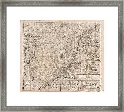 Sea Chart Of The Southern Part Of The North Sea And Part Framed Print