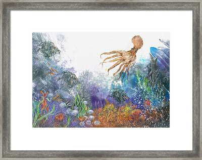 Sea Coral And Octopus Framed Print