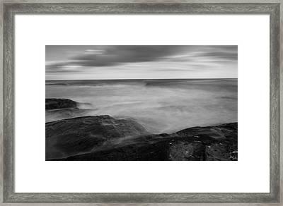 Sea Foam Black And White Framed Print
