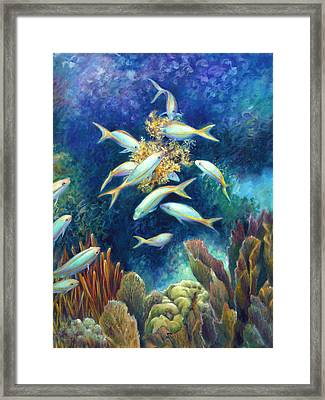 Sea Food Chain - Feeding Frenzy Framed Print by Nancy Tilles