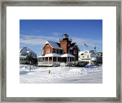 Sea Girt Lighthouse In The Snow Framed Print by Melinda Saminski