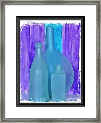 Sea Glass Bottles Made In India Framed Print by Marsha Heiken