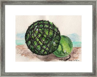 Framed Print featuring the painting Sea Glass Floats by Tamyra Crossley