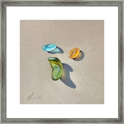Sea Glass - Trio Framed Print by Elena Kolotusha