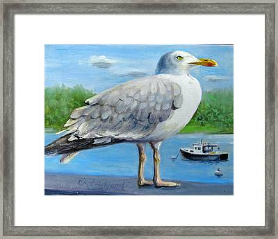 Framed Print featuring the painting Sea Gull On Alert by Oz Freedgood