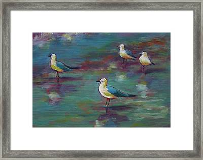 Sea Gulls Beach Bums Framed Print