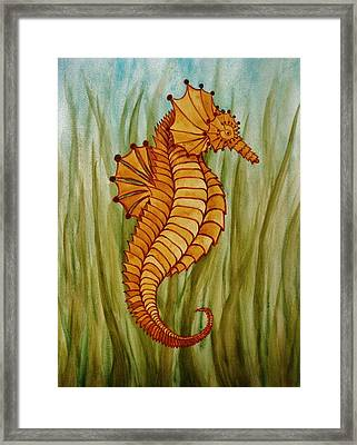 Framed Print featuring the painting Sea Horse by Katherine Young-Beck