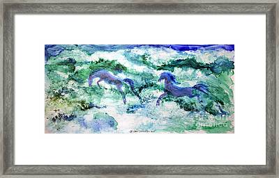 Framed Print featuring the painting Sea Horses by Joan Hartenstein