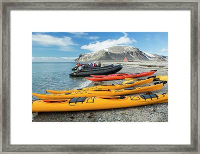 Sea Kayaks And Zodiaks Framed Print by Ashley Cooper
