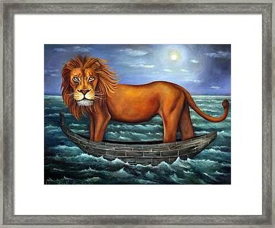 Sea Lion Bolder Image Framed Print by Leah Saulnier The Painting Maniac