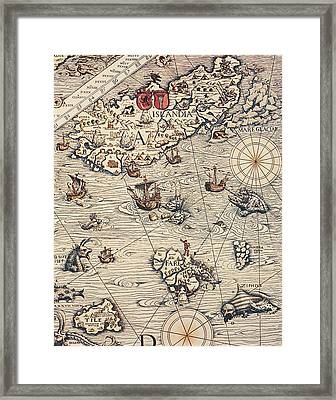 Sea Map By Olaus Magnus Framed Print