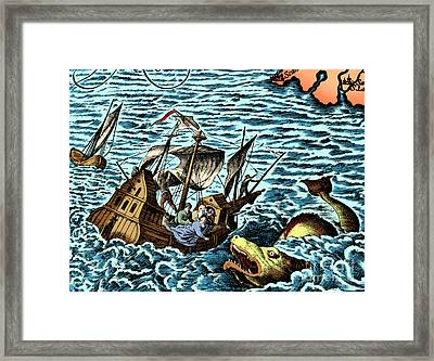 Sea Monster Attacking Ship, 1583 Framed Print by Science Source