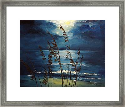 Sea Oats And Moonlight Framed Print