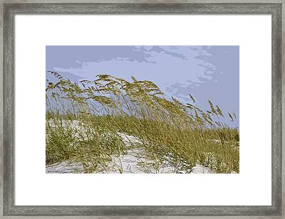 Framed Print featuring the photograph Sea Oats by Kathy Ponce