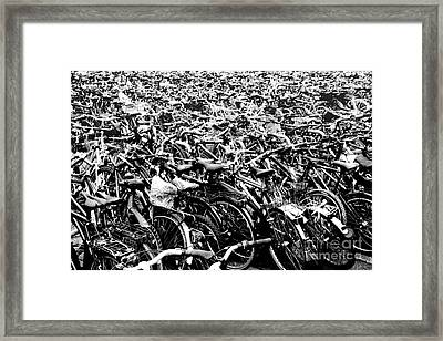 Framed Print featuring the photograph Sea Of Bicycles 3 by Joey Agbayani