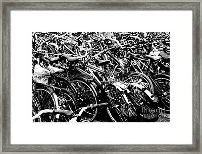 Framed Print featuring the photograph Sea Of Bicycles 2 by Joey Agbayani