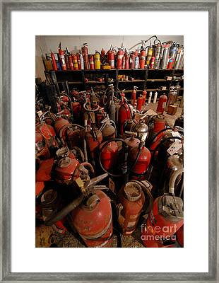 Sea Of Fire Extinguishers Framed Print by Amy Cicconi